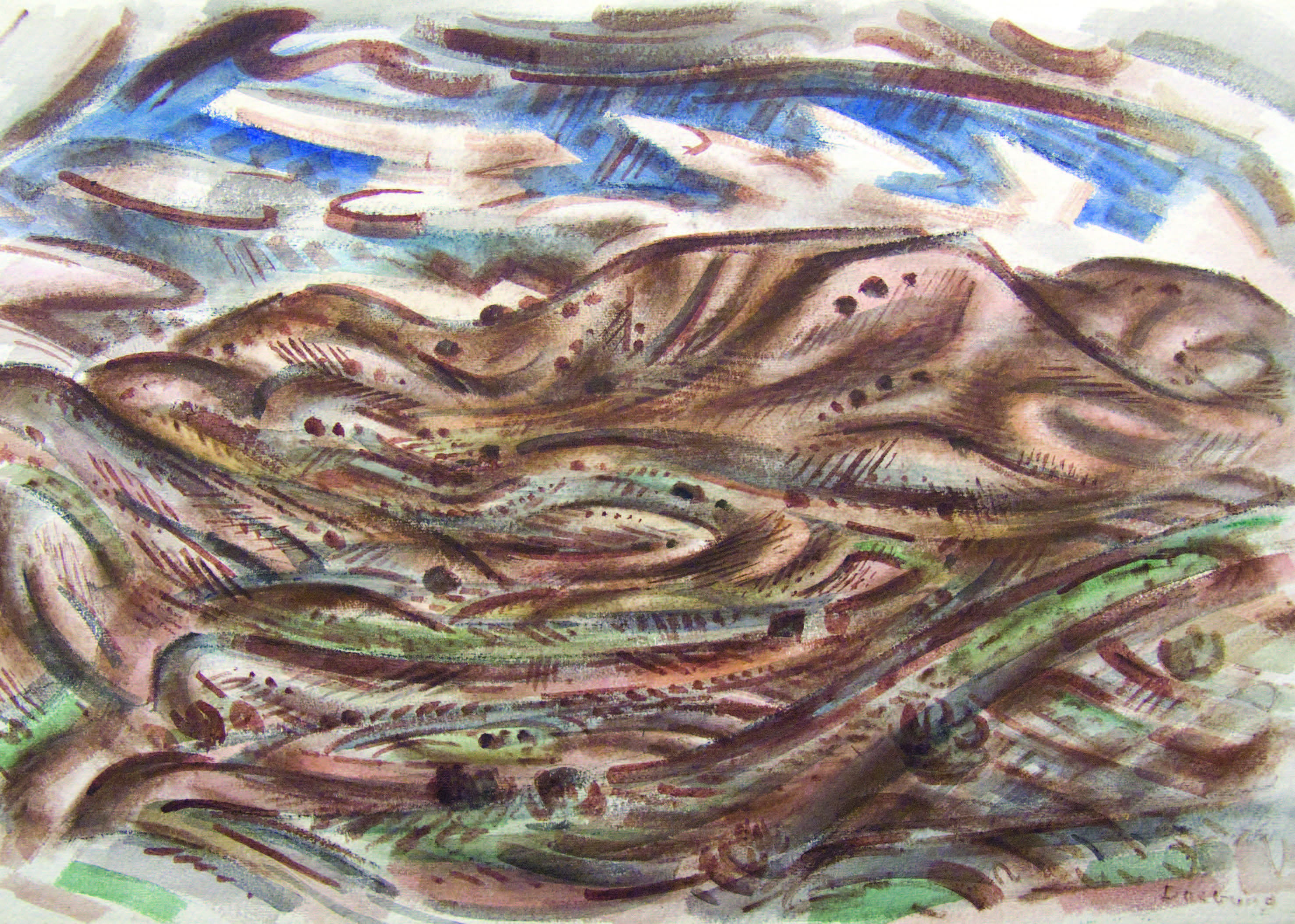 Andrew Dasburg, Sangre de Cristo, ca. 1933. Watercolor, 15 1⁄8 × 21 5⁄8 in. Collection of the New Mexico Museum of Art. Gift of Mr. Edwin F. Gamble, 1968 (2235.23P). Photograph by Blair Clark.