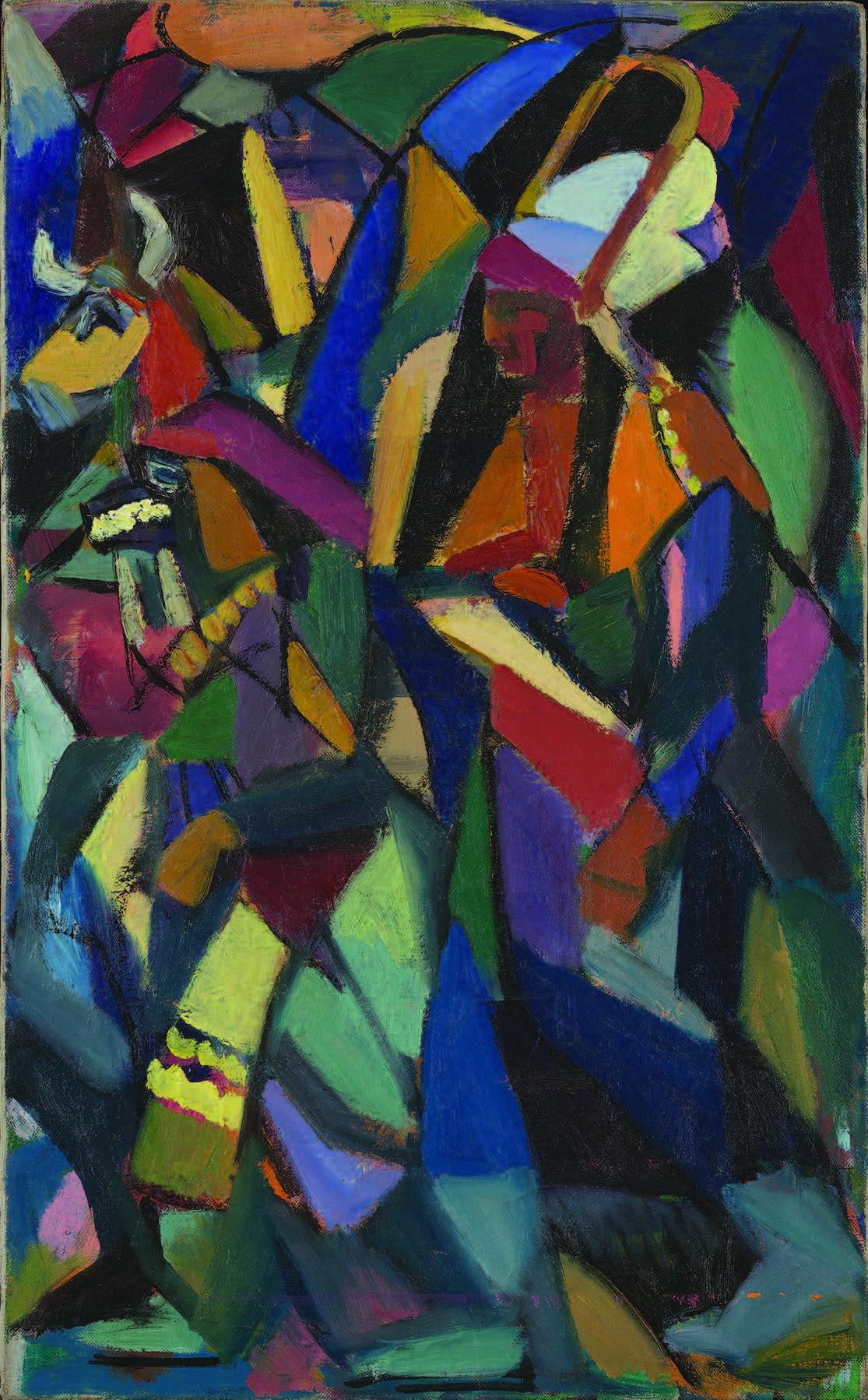 Jan Matulka (1890–1972), Indian Dancers, ca. 1917–18. Oil on canvas, 26 × 16 in. (66 × 40.6 cm). The Jan T. and Marica Vilcek Collection. © Estate of Jan Matulka.