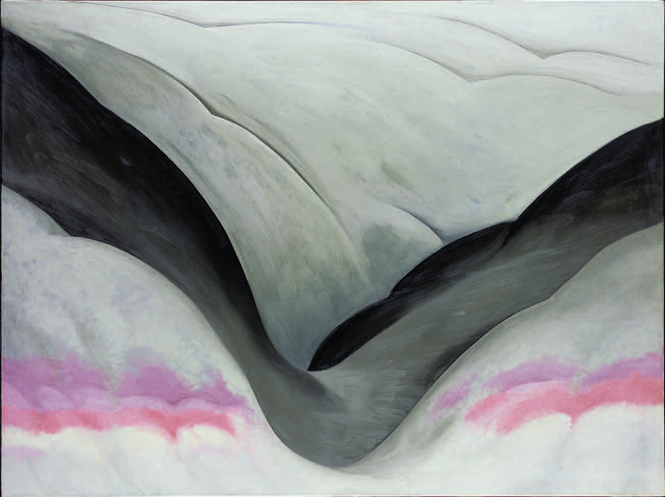 Georgia O'Keeffe (1887–1986), Black Place, Grey and Pink, 1949. Oil on canvas, 36 × 48 in. (91.4 × 121.9 cm). Georgia O'Keeffe Museum. Gift of the Burnett Foundation (1997.06.030). © Georgia O'Keeffe Museum.