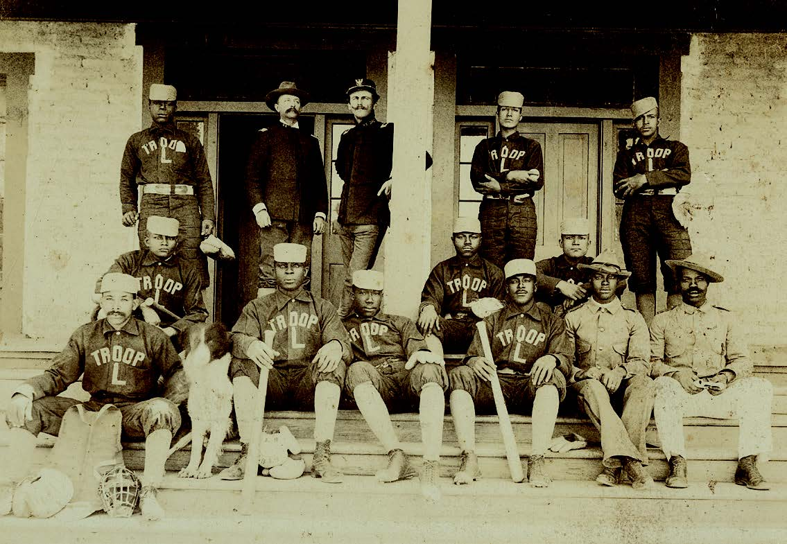 Baseball team, Troop L, 9th Cavalry, Fort Wingate, New Mexico, 1899. Imperial Photo Gallery. Palace of the Governors Photo Archives (NMHM/DCA), Neg. No. 098374.