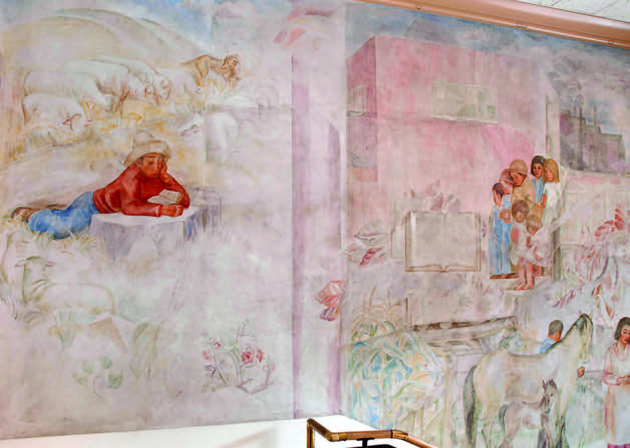 Olive Rush mural on the north wall of the stairs between the Fray Angélico Chávez History Library and the Palace of the Governors Photo Archives. Photographs by Blair Clark.