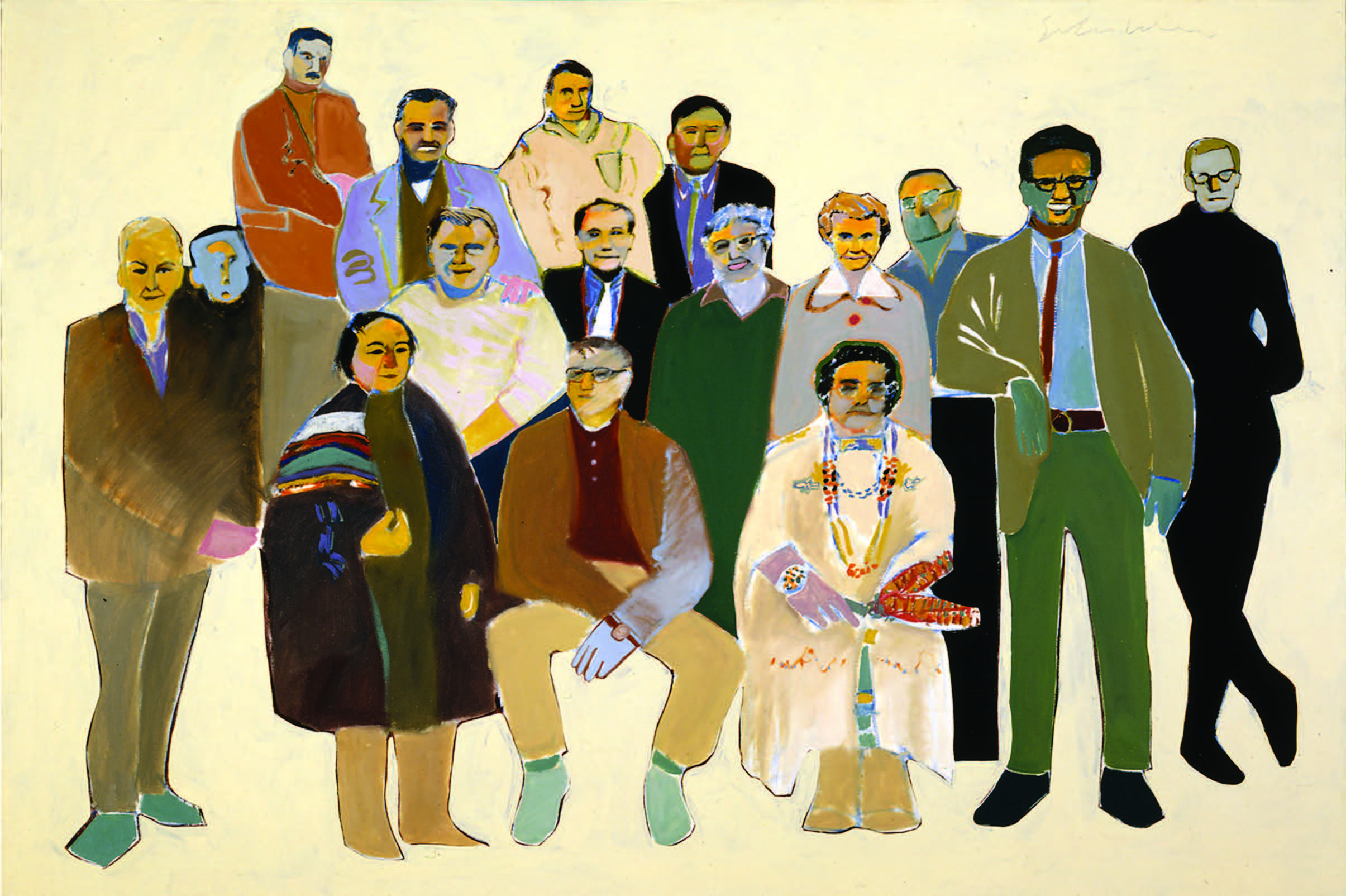 Fritz Scholder, Arts Faculty at the Institute of American Indian Arts at 4:15 pm, 1968. Left to right: (first row) Otelie Loloma, Terry Schubert, Josephine Wapp, Fritz Scholder (standing); (second row) Seymour Tubis, Neil Parsons, Rolland Meinholtz, Lloyd Kiva New, Terry Allen, Kay Wiest, Allan Houser, Michael McCormick; (third row) Ralph Pardington, Leo N. Bushman, James McGrath, Louis Ballard. Oil on canvas, 54 ½ × 71 ½ in. Collection of the New Mexico Museum of Art. Gift of Fritz Scholder, 1968 (2271.23P). Photograph by Blair Clark © Fritz Scholder Estate.