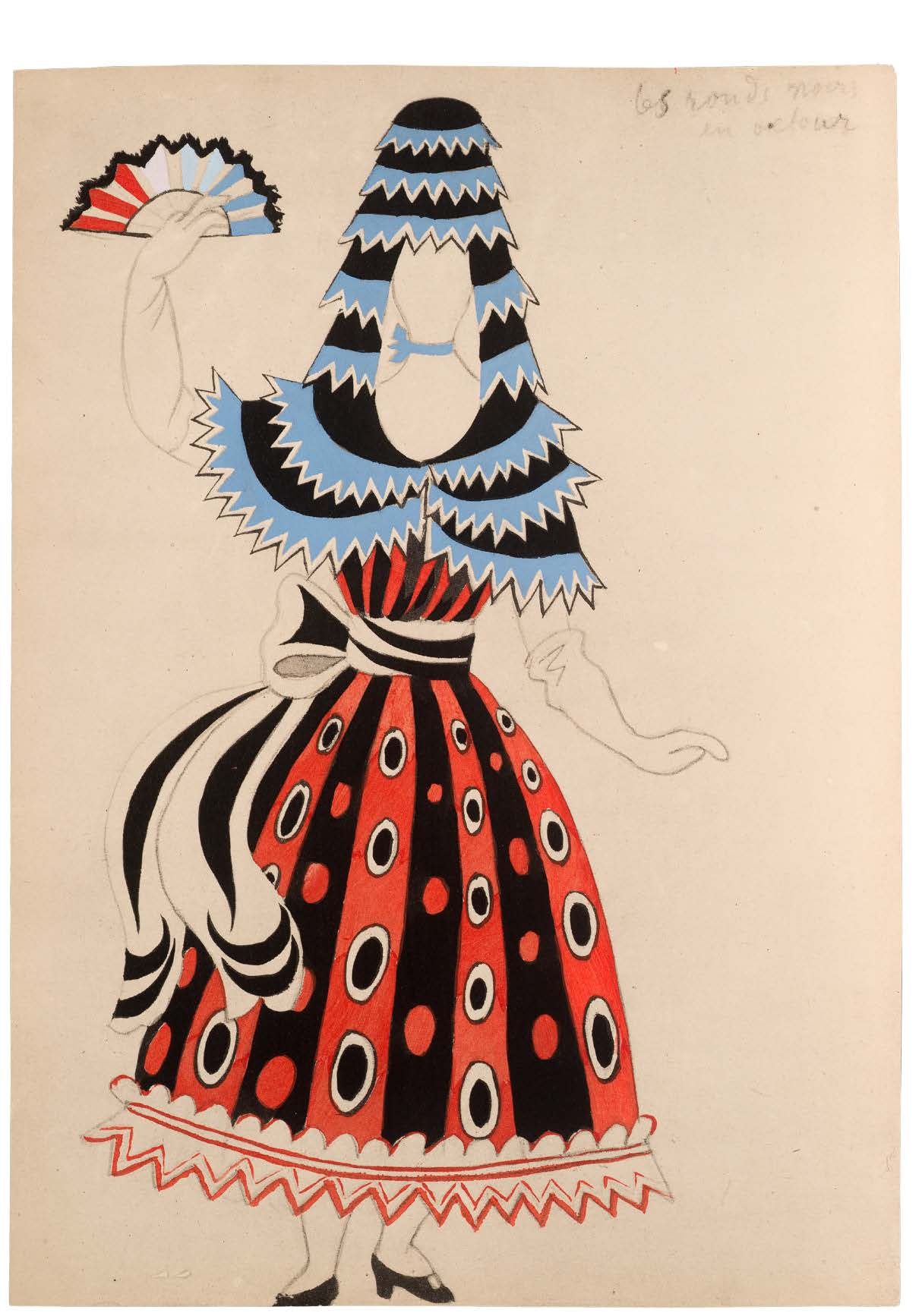 Pablo Picasso, costume design for female dancer for Le Tricorne, or El Tricornio (The Tri-Cornered Hat), Spain, 1920. Gift of Robert L. B. Tobin. Courtesy of the McNay Art Museum.