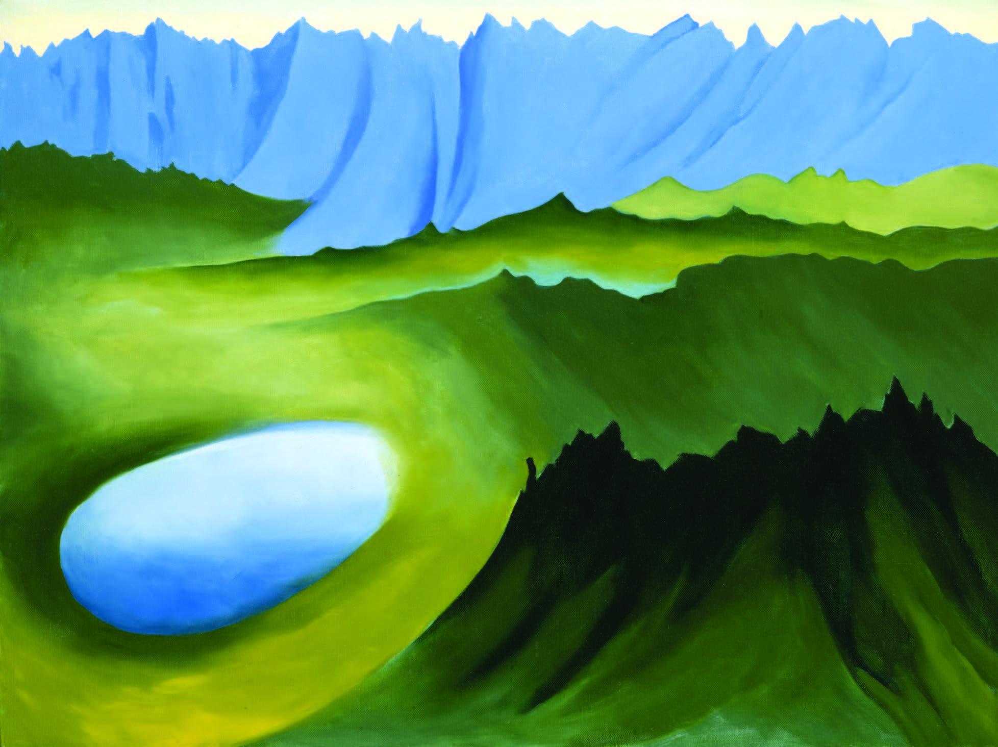 Georgia O'Keeffe, Mountains and Lake, 1961. Oil on canvas, 30 × 40 in. Georgia O'Keeffe Museum. Gift of the Georgia O'Keeffe Foundation (2006.05.365). © Georgia O'Keeffe Museum. Photograph by Malcolm Varon.