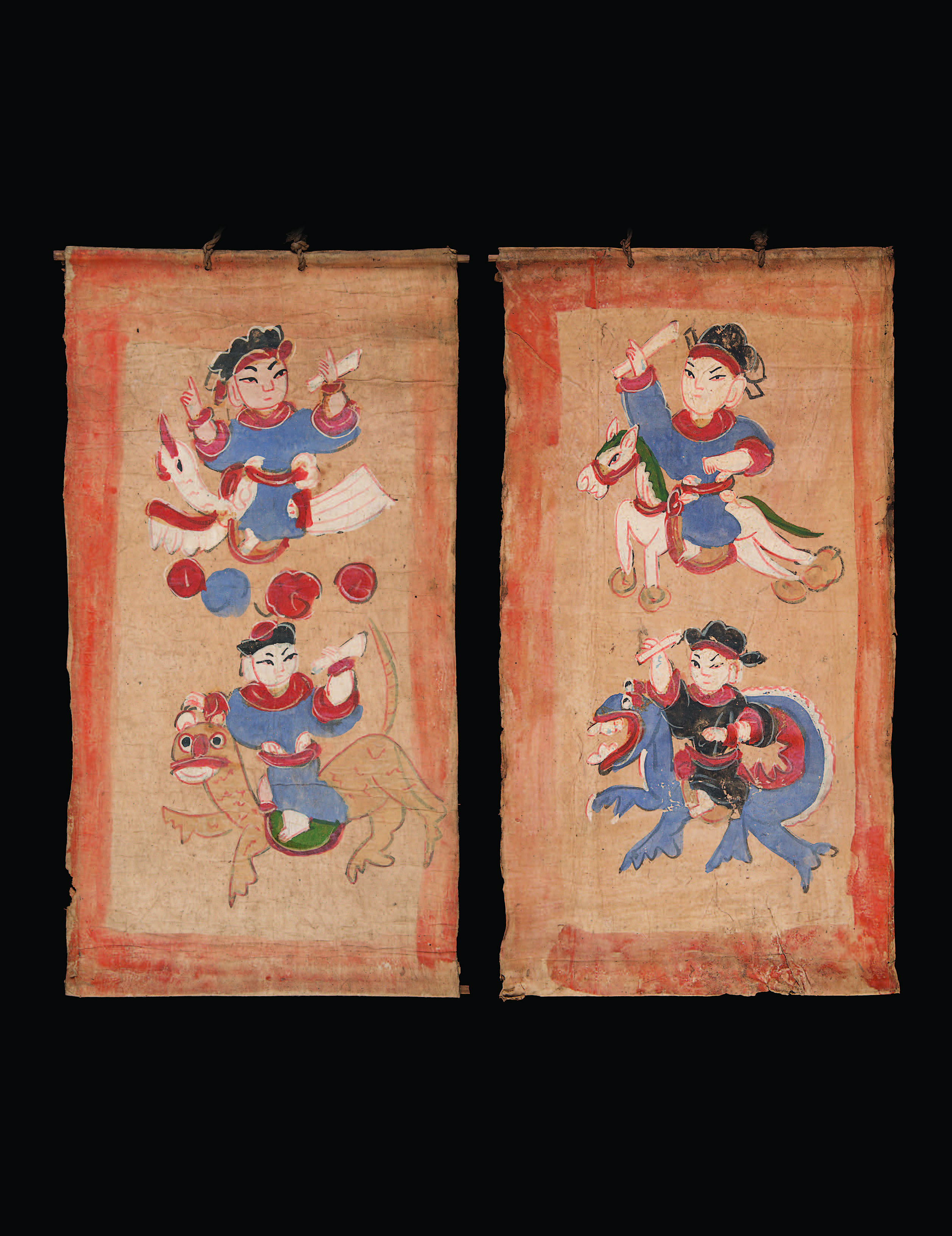 The essential three deity paintings:The High Constable; Minor Hoi Fan (God of the Sea); Heavenly Host (Ancestors), Yao culture, 1879, southern China. Mulberry paper, natural pigments, approximately 44 ½ × 18 inches each. Gift of Mark Rapoport, MD, and Jane C. Hughes. Museum of International Folk Art (A.2015.67.1, A.2015.71.2, A.2015.71.1). Photographs by Blair Clark.