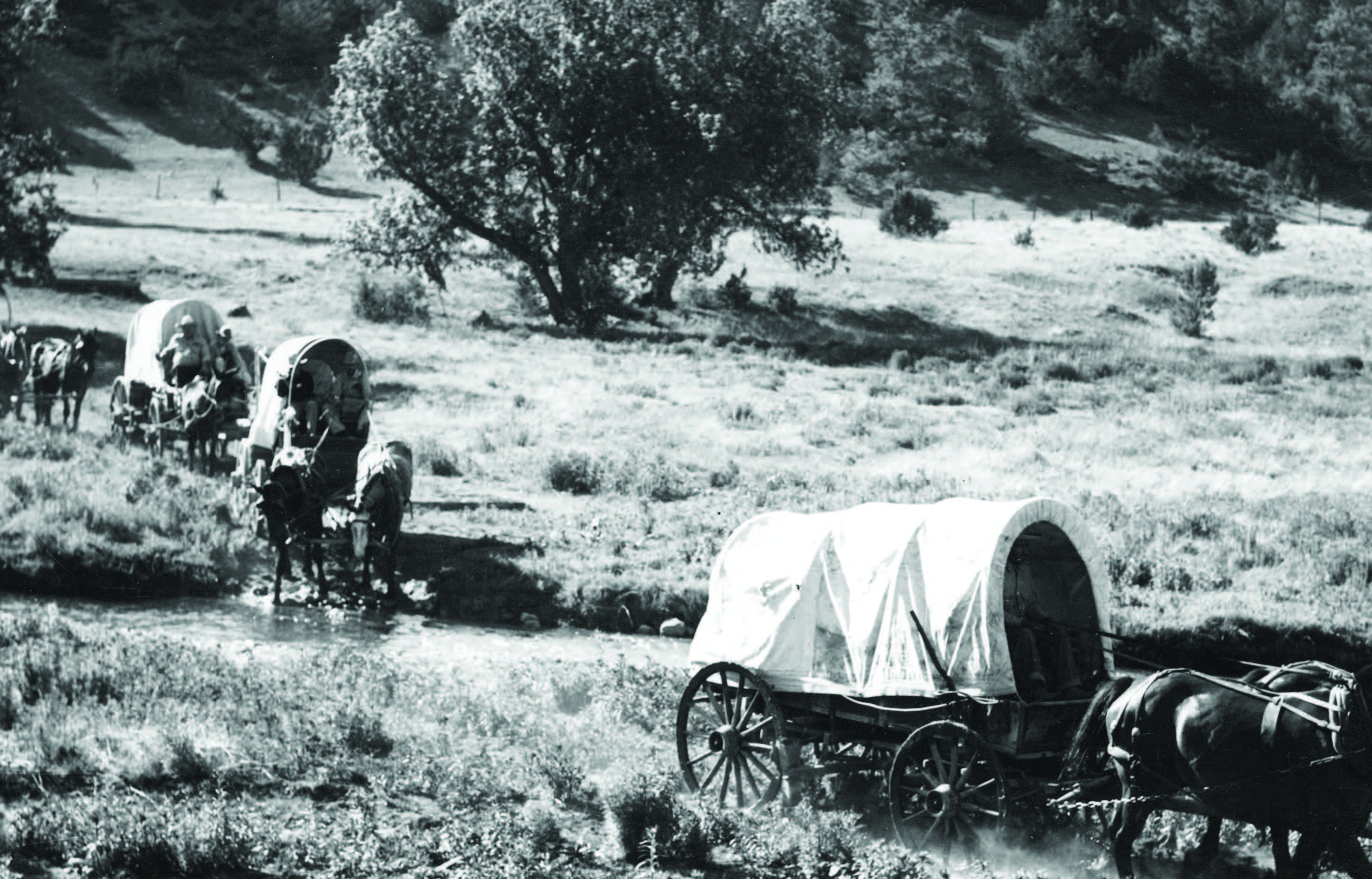 A latter-day wagon train crossing an unidentified stream in New Mexico. Photograph by the New Mexico Tourism Bureau, ca. 1940. Palace of the Governors Photo Archives (NMHM/DCA), Neg. No. 128733.