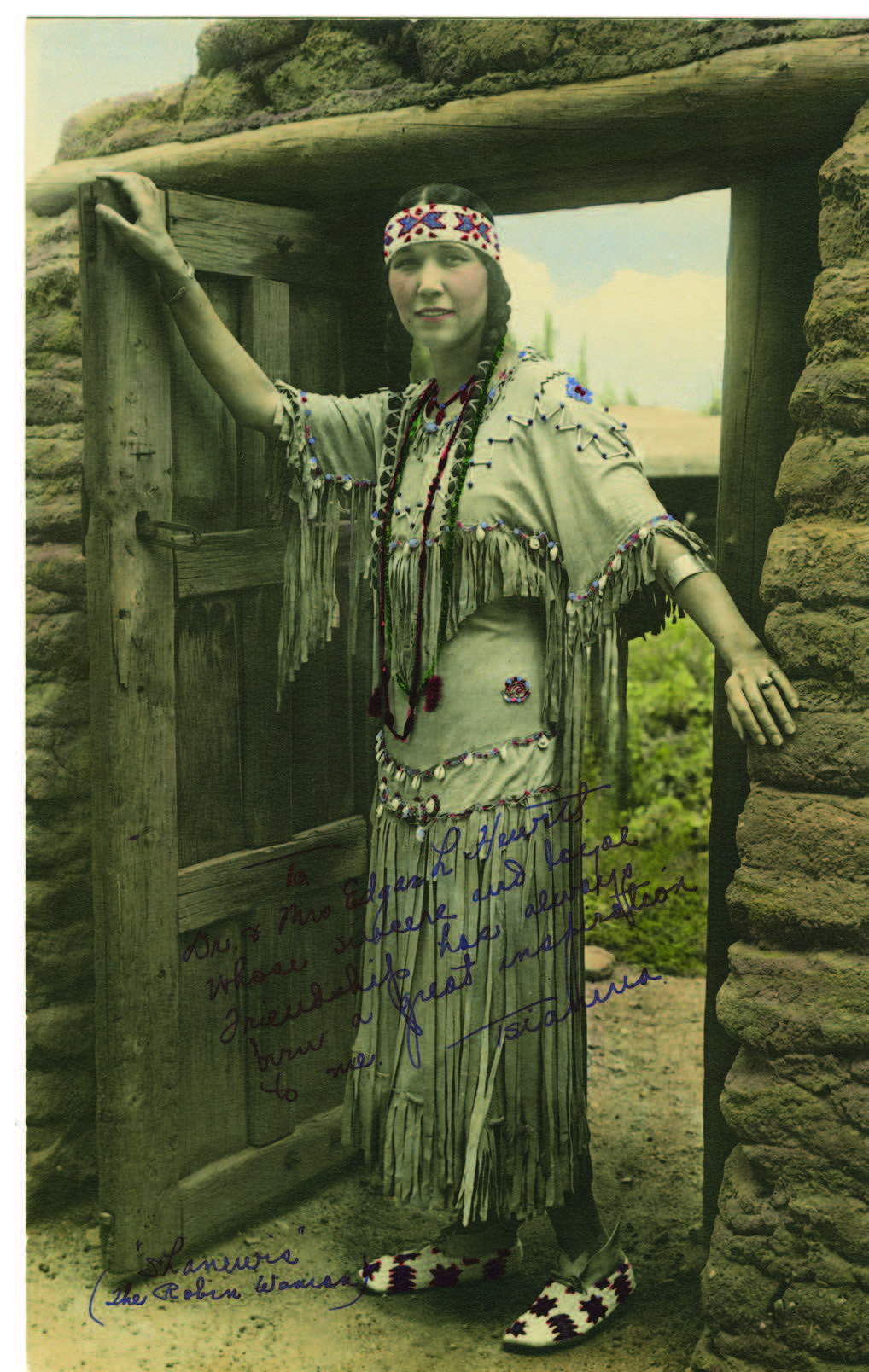 Tsianina Redfeather Blackstone, Santa Fe, New Mexico. Hand-colored photograph, photographer unknown, 1924. Palace of the Governors Photo Archives (NMHM/DCA), Neg. No. 011234.