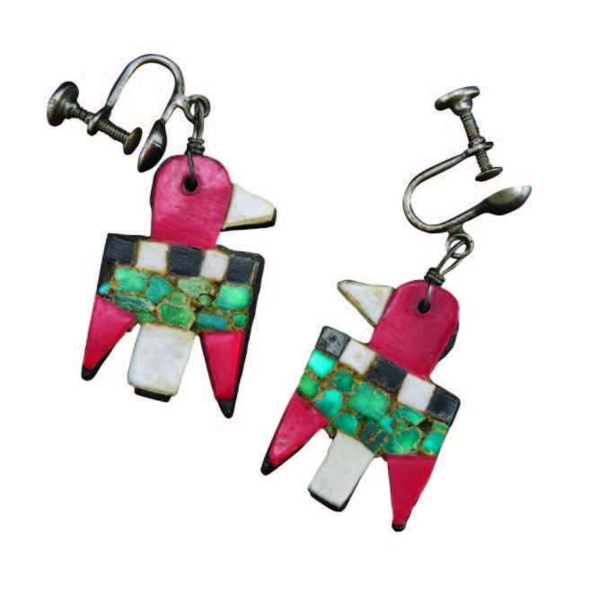 Santo Domingo Depression-era earrings, maker unknown. Genuine turquoise, red and black plastic, bone. Gift of Marianne K. Newton; #55650/12. Collection Museum of Indian Arts and Culture. Photograph by Blair Clark.