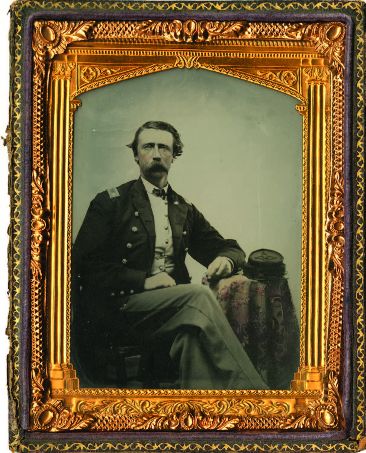 Unidentified Union Army officer. Hand-tinted half-plate ambrotype, ca. Civil War era. Palace of the Governors Photo Archives (NMHM/DCA), Neg. No. HP.2011.35.1.