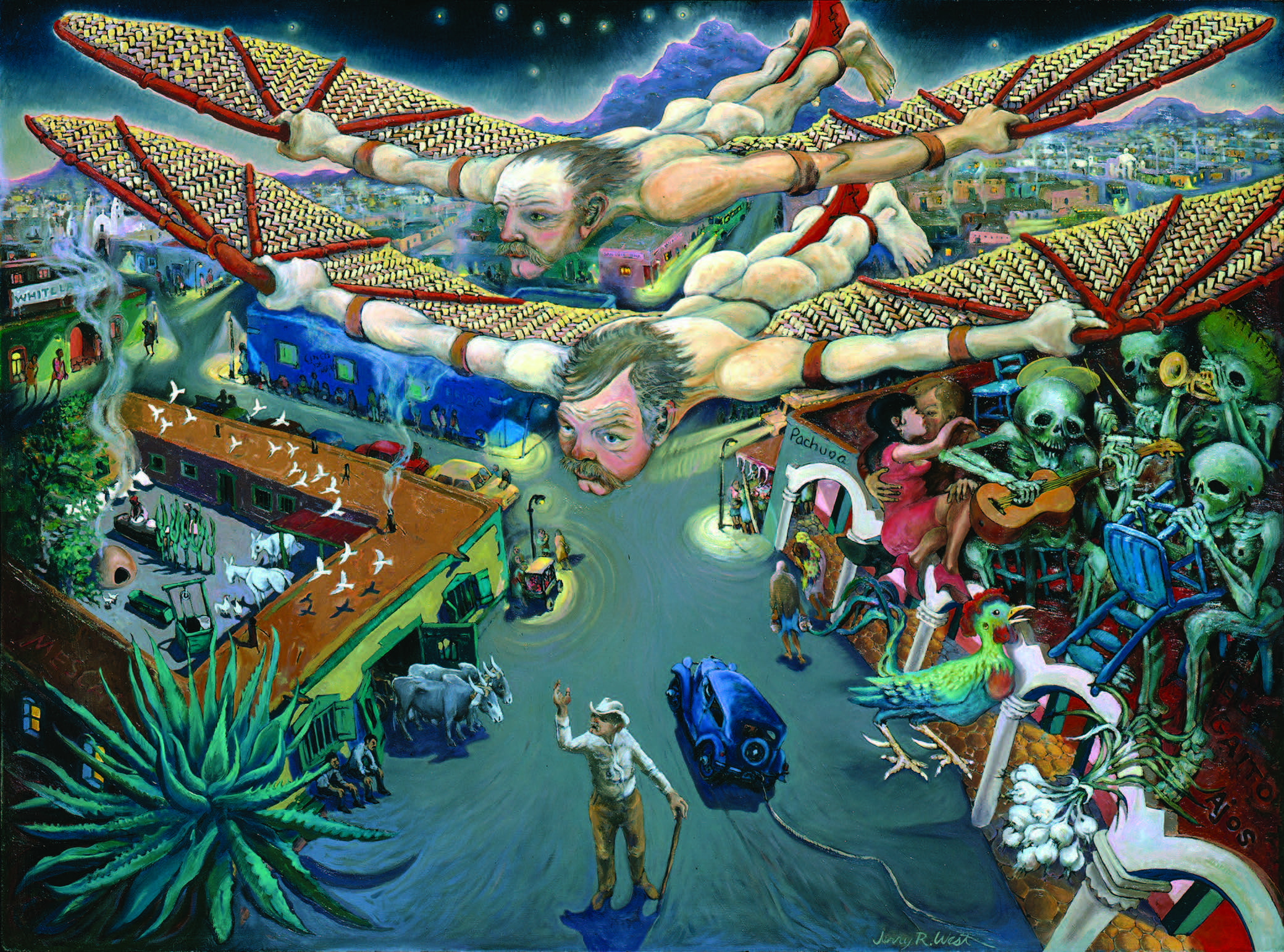 Jerry West, Flight over Juárez, 1981. Oil on masonite, 48 × 36 in. Collection of Barbara Gehring.