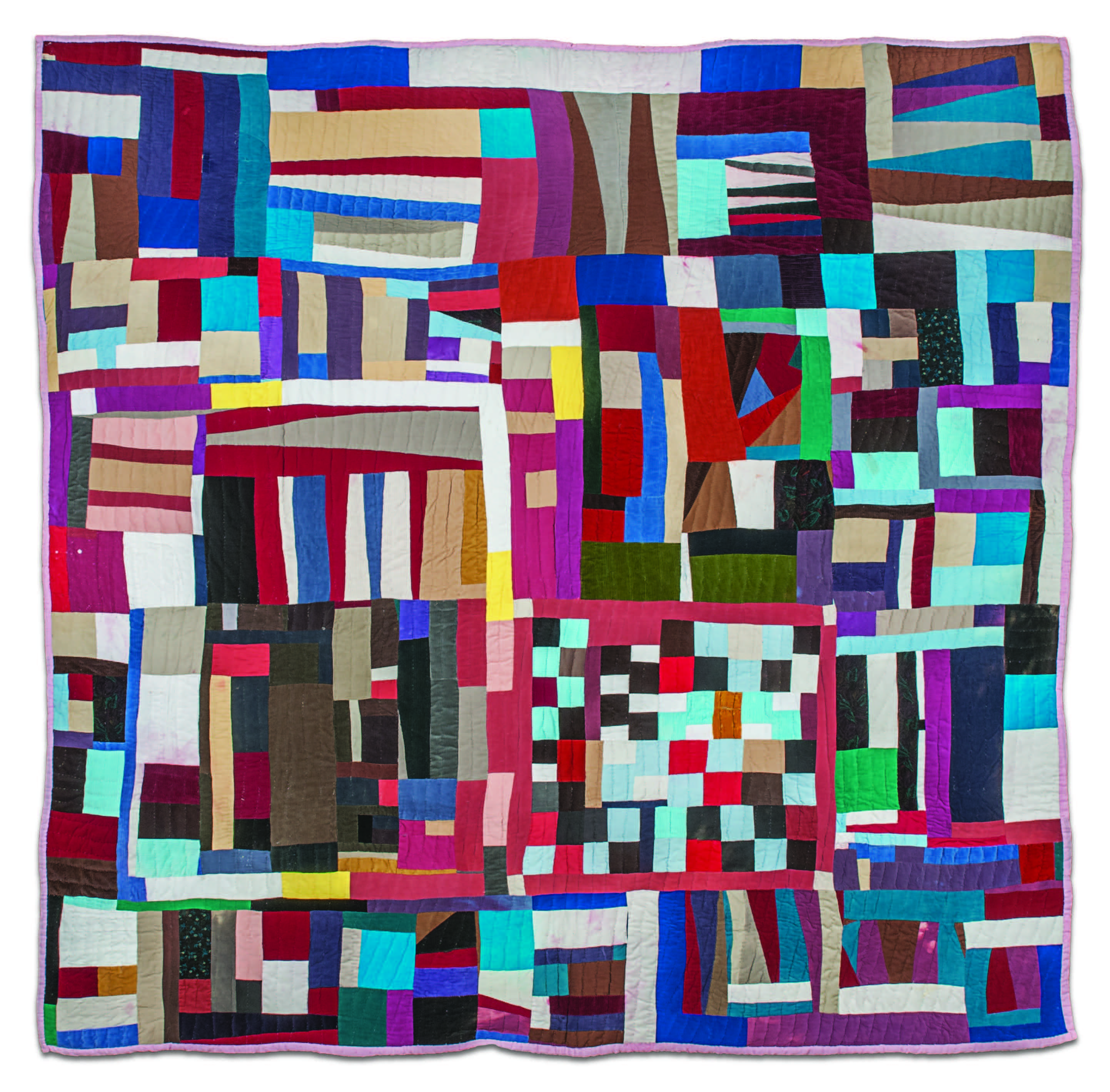 Mary Lee Bendolph, Blocked Out, 2009. Quilted fabric (corduroy, cotton, velvet), 86 × 85 inches. Museum of International Folk Art, IFAF Collection (FA.2014.60.1). Photograph by Blair Clark.