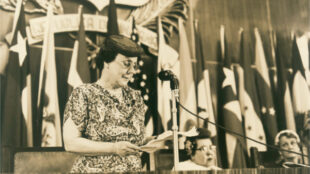 Bertha Lutz speaks at the end of the assembly of the Inter-American Commission of Women, Trujillo, Dominican Republic, 1956. Courtesy Brazilian Federation for Women's Progress and public domain.