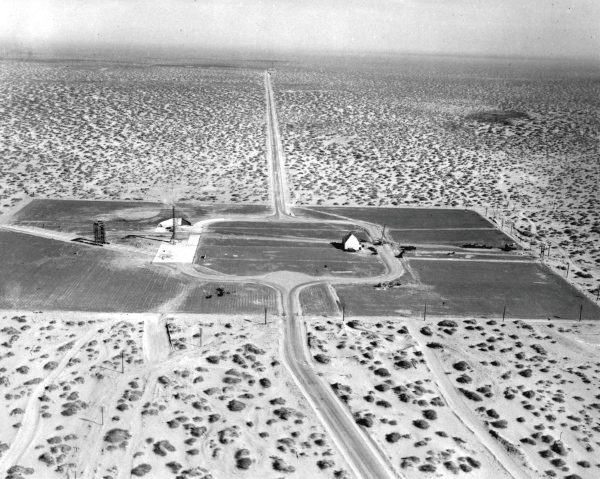 Aerial view of Launch Complex 33 with a view of the blockhouse, WAC Corporal launch tower, and the V-2 Gantry.