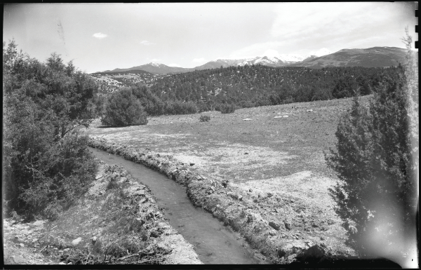 Acequia (irrigation ditch) possibly near Cordova or Truchas, New Mexico, ca. 1925–1945. Photograph by T. Harmon Parkhurst. Courtesy the T. Harmon Parkhurst Collection, the Palace of the Governors Photo Archives (NMHM/ DCA), neg. no. 069231.