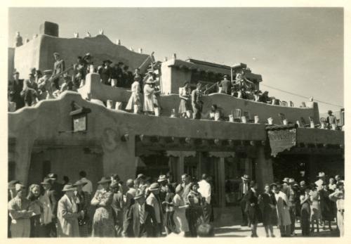 Crowds at La Fonda hotel during fiesta, Santa Fe, New Mexico, ca. 1941-1944.