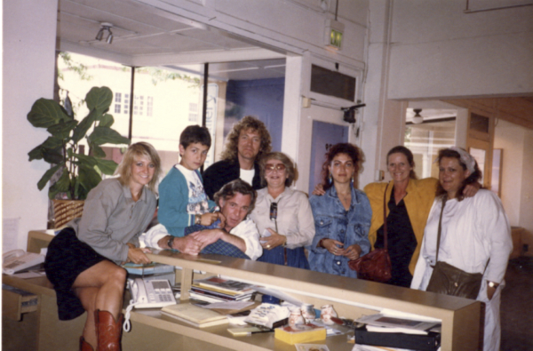 ulie Sasse, Logan Romero, John Morris, Robert Plant, Elaine Horwitch, Carmen Jane, Char Velasquez, and Dale Kern at Elaine Horwitch Galleries, Santa Fe, New Mexico, 1982. Photograph courtesy Elaine Horwitch Galleries.