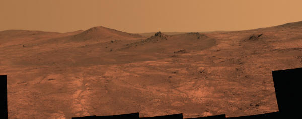 Rim of Endeavour Crater, Mars. Photograph courtesy NASA.