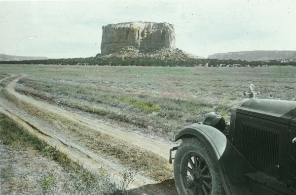 Automobile on road to Enchanted Mesa near Acoma Pueblo, New Mexico, 1926. Photograph by Frank Shoemaker. Courtesy Palace of the Governors Photo Archives (NMHM/DCA), neg. no. LS.2094.