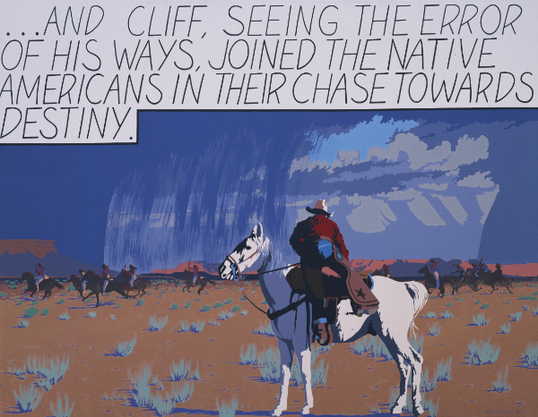 Billy Schenck, Cliff, 1990. Oil on canvas. 50 × 55½ inches. Collection of the New Mexico Museum of Art. Gift of Bill Schenck, 2005 (2005.17.1).