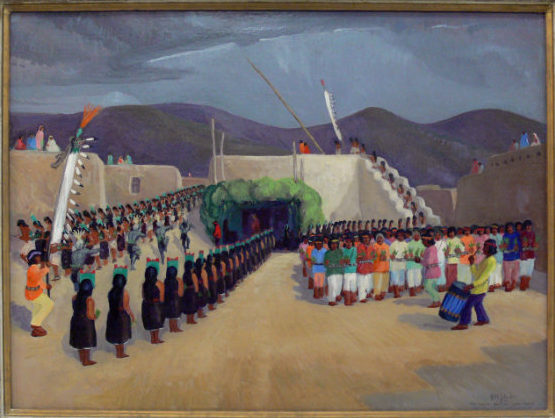 Will Shuster, The Santo Domingo - Corn Dance, 1929. Oil on canvas. 29 3/8 × 39 5/8 in. Collection of the New Mexico Museum of Art. Gift of Will Shuster, 1934 (361.23P).