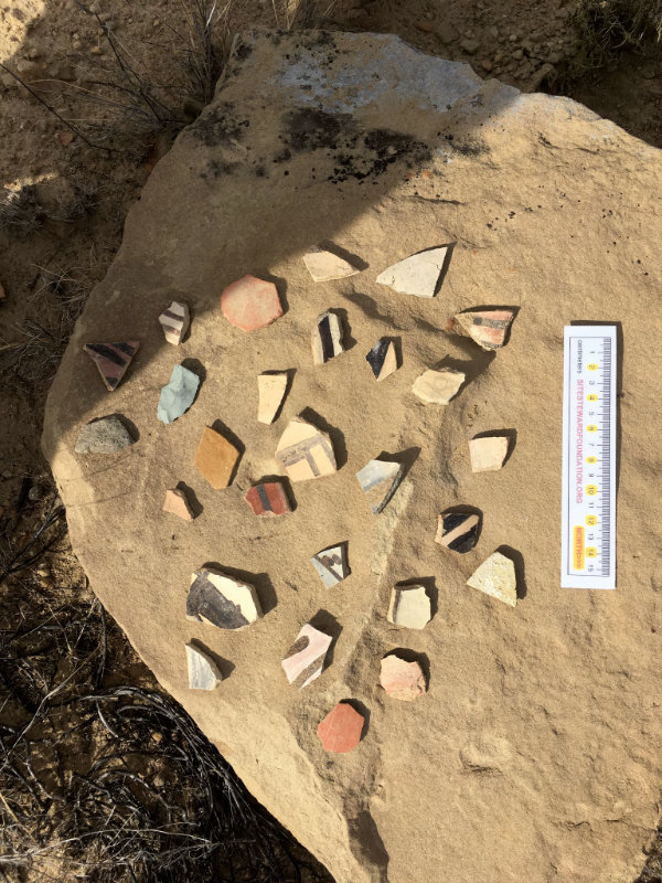People don't realize that picking up potsherds to make a trailside display destroys the historical record of the site. Photograph courtesy Jessica Badner.
