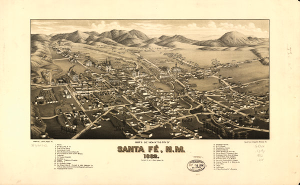This familiar 1882 map of Santa Fe shows the unfinished territorial capitol building that would become the Tertio-Millennial Exposition hall to the left of the Plaza on Capitol Avenue (now Federal Place). Bird's eye view of the city of Santa Fé, N.M., 1882. Courtesy Library of Congress Geography and Map Division, image no. G4324.S3A3 1882.W4.