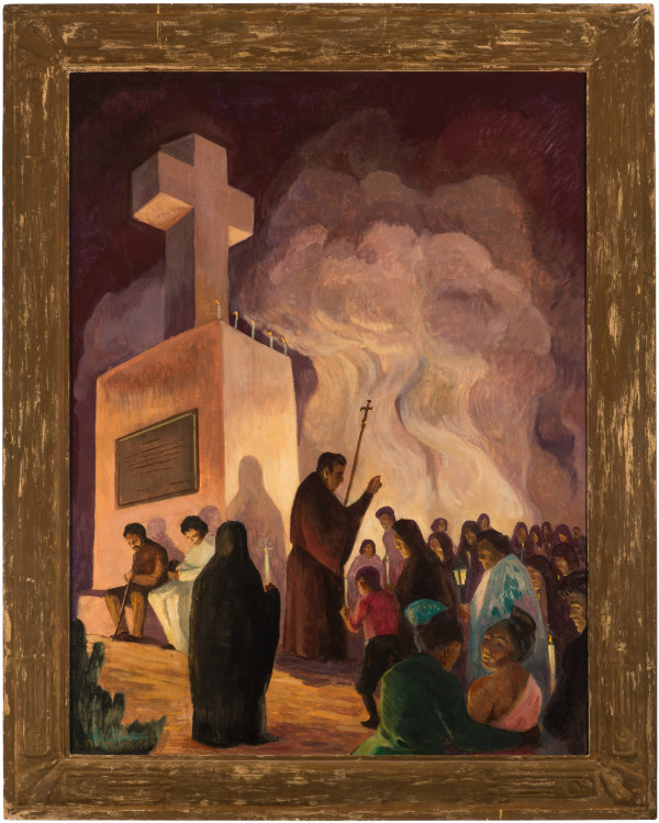 Will Shuster, Sermon at Cross of the Martyrs, 1934. Oil on canvas. 48 × 35 ¾ in. Collection of the New Mexico Museum of Art. Donated in memory of Helen H. Shuster by her family, 1972 (2964.23P). Photograph by Cameron Gay.