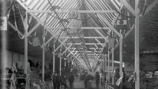 Exposition Hall, Tertio-Millennial Exposition, Santa Fe, New Mexico, ca. 1880-1890. Photograph by Ben Wittick. Courtesy the Ben Wittick Collection, Palace of the Governors Photo Archives (NMHM/DCA), neg. no. 015860.