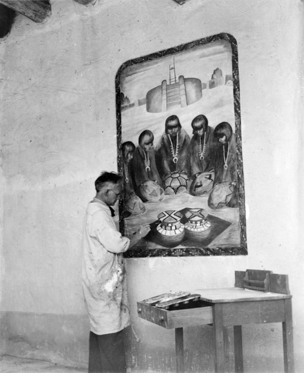 Will Shuster painting mural, patio, Fine Arts Museum, Museum of New Mexico, Santa Fe, New Mexico, ca. 1934. Photograph by R.H. Dawson. Courtesy Palace of the Governors Photo Archives (NMHM/DCA), neg. no. 030849.