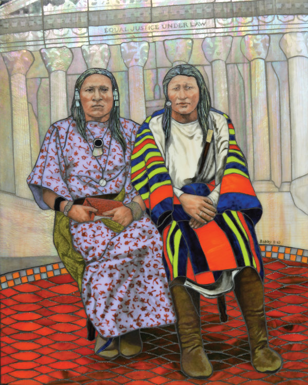 Angela Babby (Lakota), Supreme Respect for the Two Spirits, 2013. Kiln-fired vitreous enamel on glass mosaic on tile board. 20 × 16 in. Collection of Jim Leach. Photograph by Angela Babby.