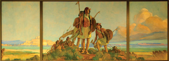 Mural by Gerald Cassidy in the Joseph M. Montoya Federal Building and U.S. Courthouse, built in 1979, in Santa Fe, New Mexico. Courtesy the Carol M. Highsmith Archive, Library of Congress Prints and Photographs Division, image no. LC-DIG-highsm-54590.