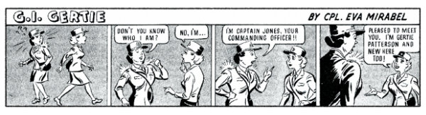 """Eva Mirabal, G.I. Gertie cartoon strip, published in AIR WAC newspaper, February 1944. The strips spell her name incorrectly as """"Mirabel."""" Courtesy collection of Coming/Gomez."""