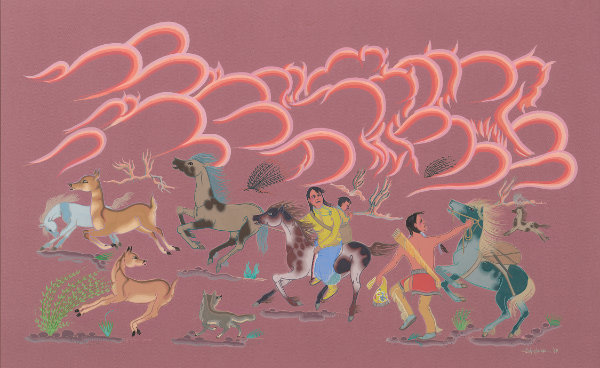 Eva Mirabal, Prairie Fire (detail), 1965. Casein on board, 26 × 38 in., unframed. Courtesy collection of Coming/Gomez.