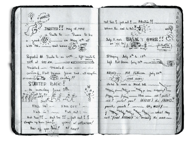 Eva Mirabal, two pages from her address book recounting her experiences including basic training at Fort Devens, Bedford, Massachusetts, June 7–July 18, 1943. Courtesy collection of Coming/Gomez.
