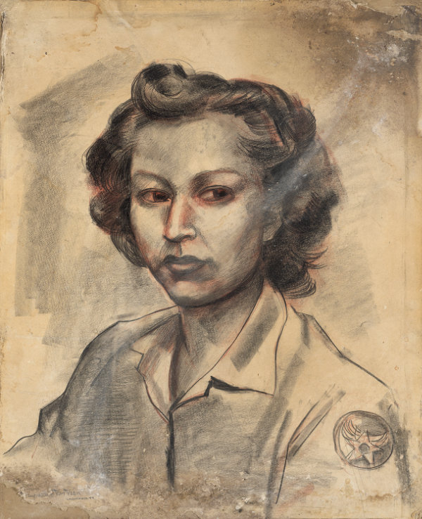 Stuyvesant Van Veen, portrait of Eva Mirabal. Charcoal on paper, 19 ¼ × 16 in., framed. Courtesy collection of Coming/Gomez.