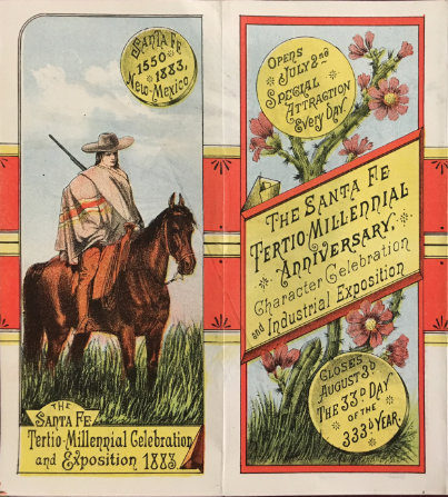 Brochure panel from the Santa Fe Tertio-Millennial Celebration and Exposition. Courtesy of the Fray Angélico Chávez History Library.