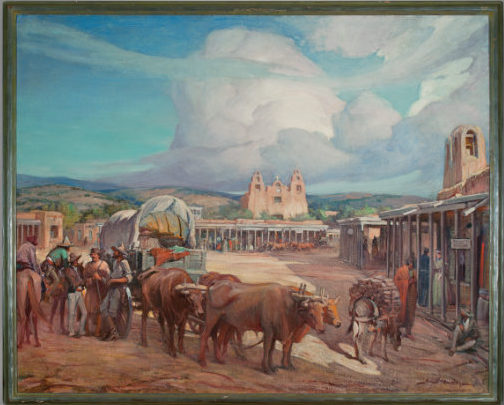 Gerald Cassidy, View of Santa Fe Plaza in the 1850s (End of the Trail), ca. 1930. Oil on canvas, 47 ¾ × 60 ¼ in. Collection of the New Mexico Museum of Art. Gift of the New Mexico Historical Society, 1977 (350.23P). Photograph by Blair Clark.