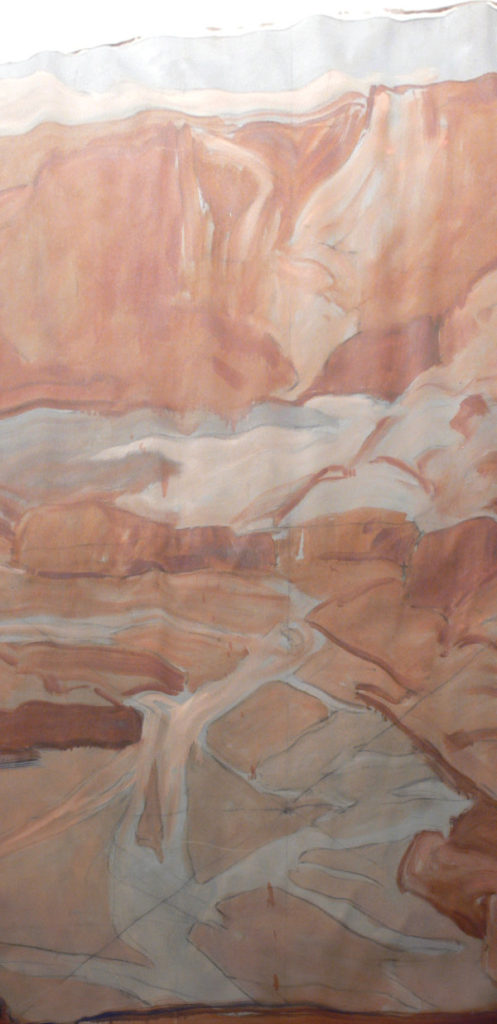 Gerald Cassidy, Canyon de Chelly Mural (unfinished), 1934. Oil on canvas, 144 × 95 ½ in. On long-term loan to the New Mexico Museum of Art from the Fine Arts Program, Public Buildings Service, U.S. General Services Administration (2008.19.1).