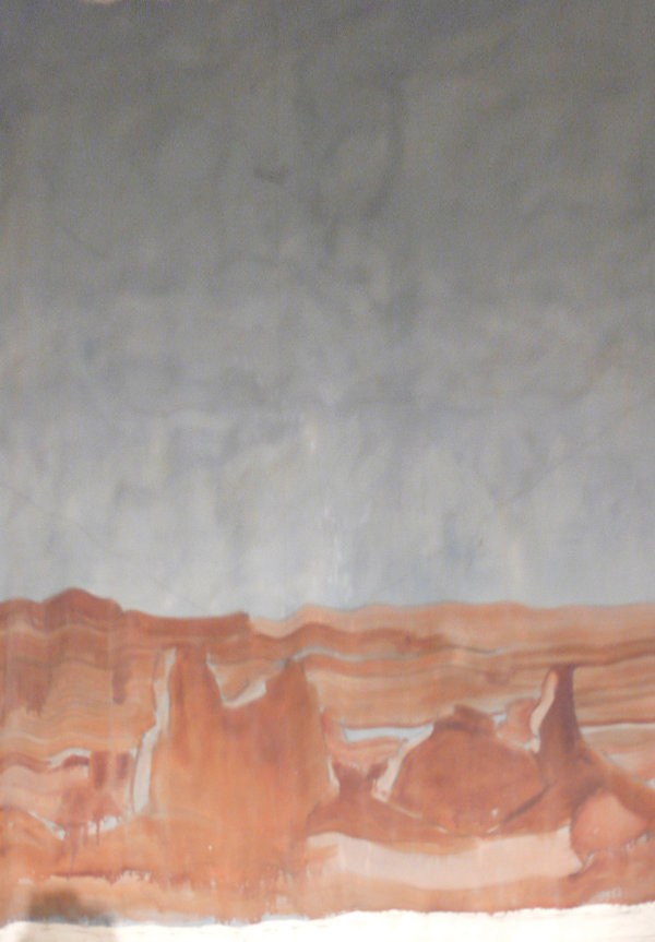 Gerald Cassidy, Chaco Canyon Mural (unfinished), 1934. Oil on canvas, 147 × 96 in. On long-term loan to the New Mexico Museum of Art from the Fine Arts Program, Public Buildings Service, U.S. General Services Administration (2008.19.2).