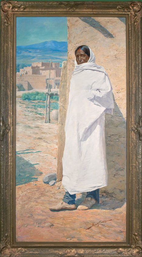Gerald Cassidy, Cui Bono?, ca. 1911. Oil on canvas, 93 ½ × 48 in. Collection of the New Mexico Museum of Art. Gift of Gerald Cassidy, 1915 (282.23P). Photograph by Blair Clark.