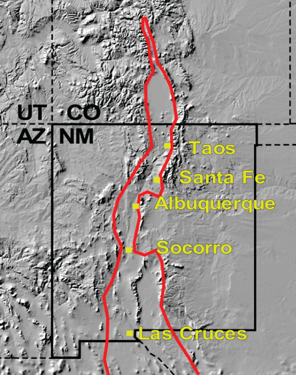 Figure 1: Red lines show the general margins of the Rio Grande rift. The rift began to form about twenty to twenty-five million years ago and is still forming today. Courtesy Larry Crumpler, New Mexico Museum of Natural History and Science.