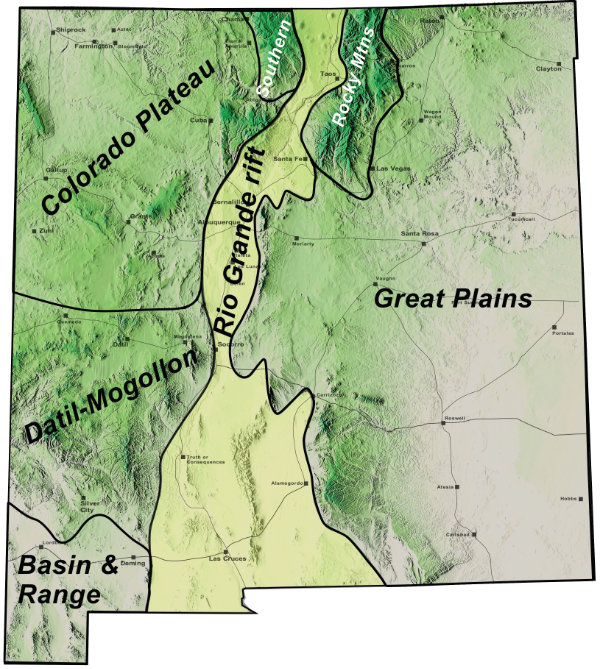 Figure 2: A geologic province is a region of the Earth's crust in which the general type and age of rocks and their geologic history is similar. Each province creates a generally similar landscape. The names of the provinces are shown. Many of them extend into our neighboring states but they all intersect within New Mexico. Courtesy Larry Crumpler, New Mexico Museum of Natural History and Science.
