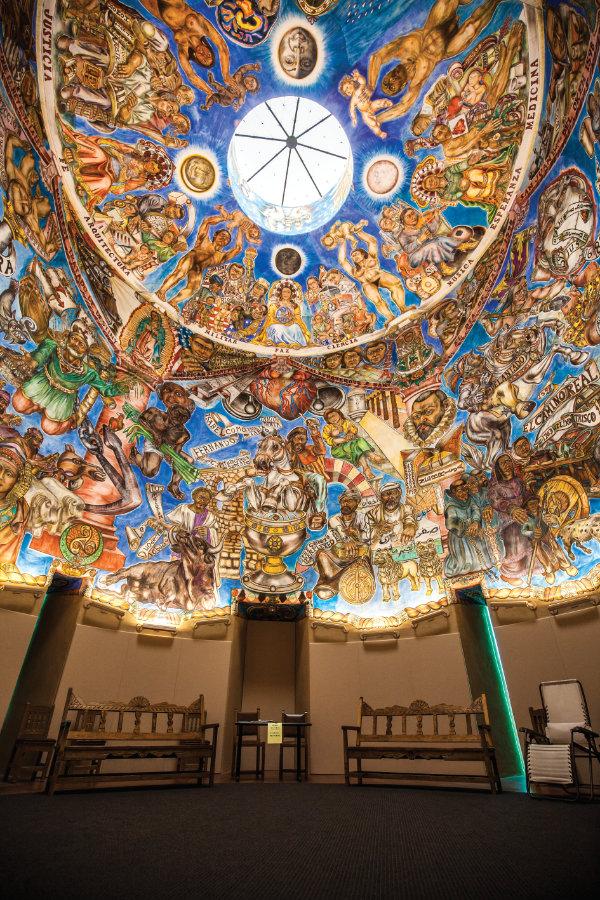The site's signature Torreón, whose elegant watchtower form soars skyward, features Frederico Vigil's world-class buon fresco, <i>Mundos de Mestizaje,</i> depicting the Hispanic diaspora. Photograph courtesy the National Hispanic Cultural Center.