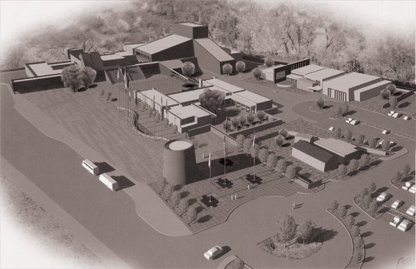 This undated design is the rendering closest to the current NHCC campus. The new Welcome Center to the north of the Torreón is missing, but the Martinez homes between the History and Literary Arts Building and the parking lot are visible. Image courtesy the National Hispanic Cultural Center.