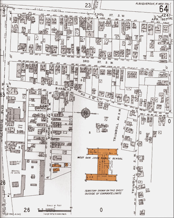 The Martinez homes, now an indelible part of the NHCC's architectural look, are representative of mid-twentieth century architecture and growth of the Barelas neighborhood. Highlighted on this April 1957 Sanborn Fire Insurance map are the homes that are still present on campus (circled at lower middle left), as well as the West San José Public School (lower middle right), now NHCC's History and Literary Arts Building. Image courtesy the National Hispanic Cultural Center.