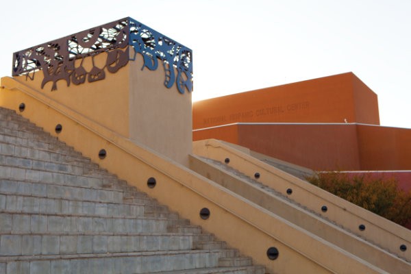 The pyramidal stairwell on the Plaza Mayor was later capped by a metal sculpture by New Mexico artist Paula Castillo. Photograph by Addison Doty.