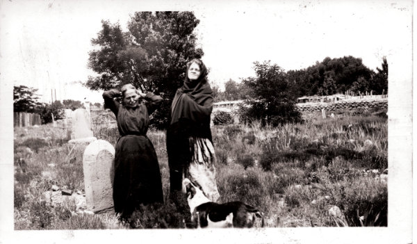 Women in the old Saint Michael's cemetery, Santa Fe, New Mexico, ca. 1930. Courtesy Palace of the Governors Photo Archives (NMHM/DCA), neg. no. 056598.